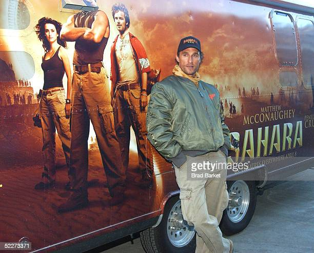 Actor Matthew McConaughey stands next to his personal Airstream trailer as he arrives at the Intrepid Sea Air and Space Museum to promote his new...
