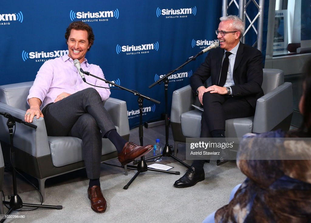 Actor Matthew McConaughey talks with Editorial Director of People and EW Jess Cagle during SiriusXM's Town Hall with Matthew McConaughey And The Cast Of 'White Boy Rick' on September 12, 2018 in New York City.