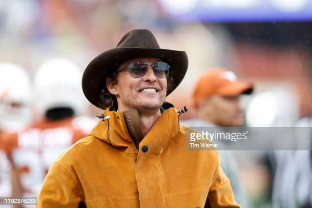 Actor Matthew McConaughey watches on the Texas Longhorns sideline in the second half against the Texas Tech Red Raiders at Darrell K RoyalTexas...