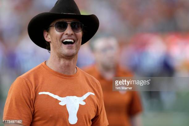 Actor Matthew McConaughey watches players warm up before the game between the Texas Longhorns and the LSU Tigers at Darrell K RoyalTexas Memorial...