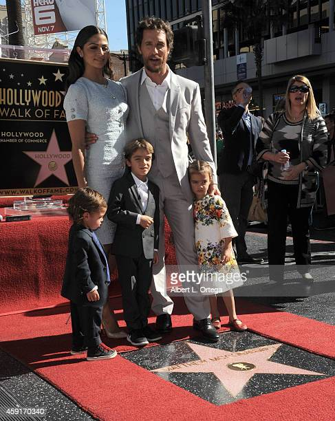 Actor Matthew McConnaughey and wife/model Camila Alves with children Livingston Levi Vida at Matthew McConaughey's Star ceremony On The Hollywood...