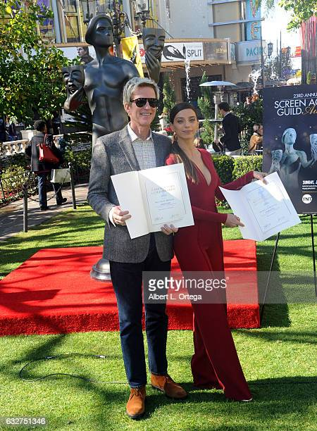 Actor Matthew Modine and actress Angela Sarafyan at the 23rd Annual Screen Actors Guild Awards Greet The Actor held at The Grove on January 25 2017...