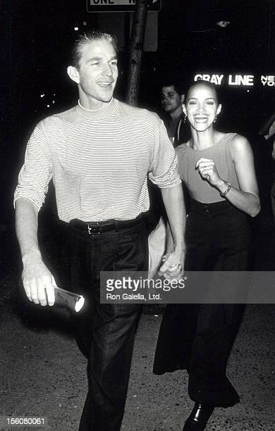 Actor Matthew Modine and actress Caridad Rivera attending the premiere of 'Sea of Love' on September 12 1989 at the Beekman Theater in New York City...