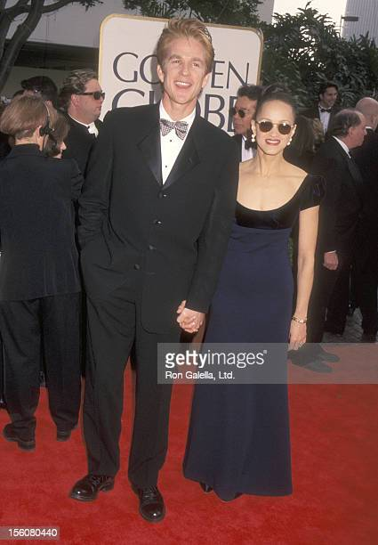 Actor Matthew Modine and wife Caridad Rivera attend the 55th Annual Golden Globe Awards on January 18 1998 at Beverly Hilton Hotel in Beverly Hills...