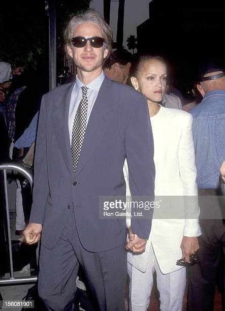 Actor Matthew Modine and wife Caridad Rivera attend the Beverly Hills Screening of HBO's 'And the Band Played On' on August 31 1993 at Academy...