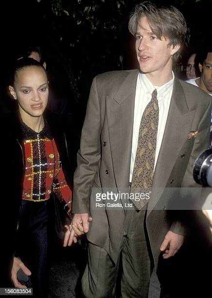 Actor Matthew Modine and wife Caridad Rivera on January 23 1991 dining at Spago in West Hollywood California