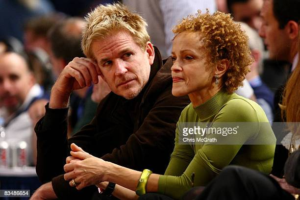 Actor Matthew Modine and wife Caridad Rivera watch the New York Knicks and the Miami Heat play at Madison Square Garden October 29 2008 in New York...
