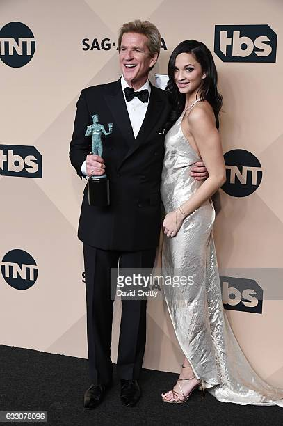 Actor Matthew Modine , winner of the Outstanding Ensemble in a Drama Series award for 'Stranger Things', and Ruby Modine pose in the press room at...
