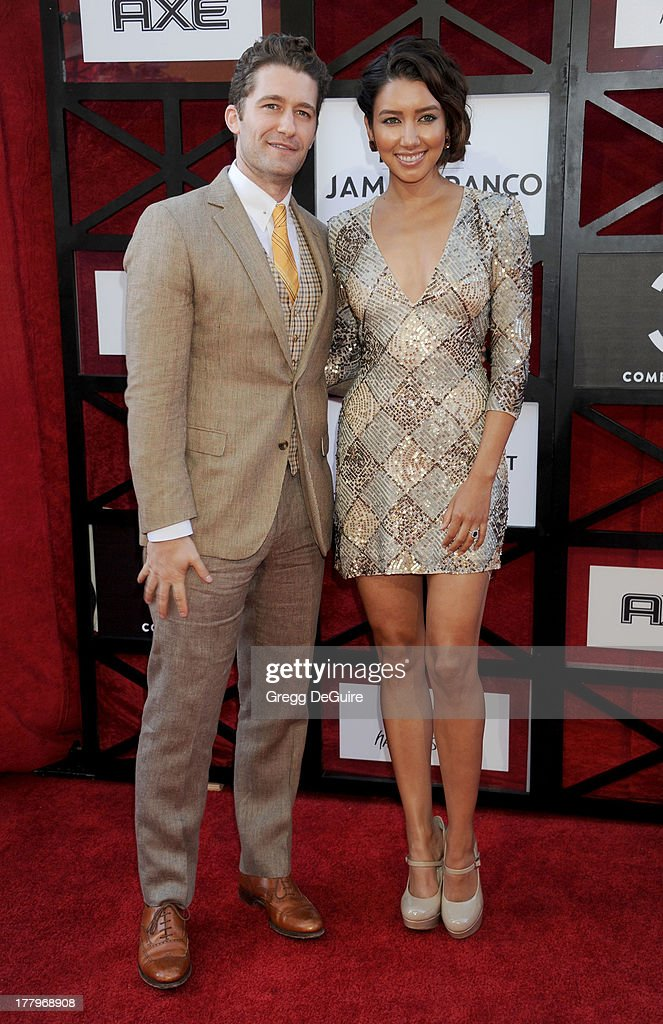 Actor Matthew Morrison and fiance Renee Puente arrive at the Comedy Central Roast of James Franco at Culver Studios on August 25, 2013 in Culver City, California.