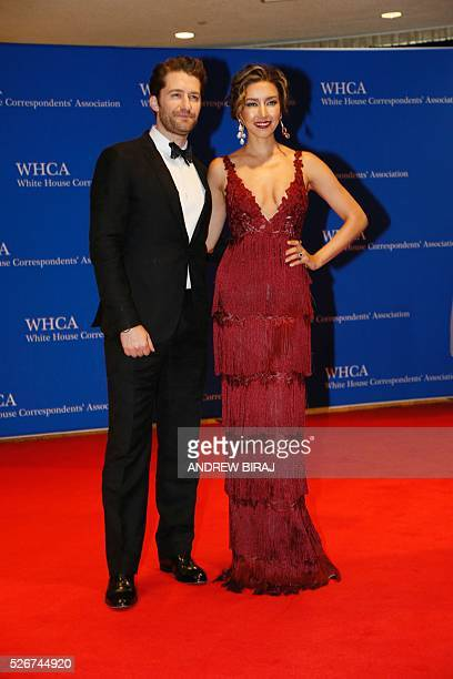 Actor Matthew Morrison and wife Renee Puente arrive for the 102nd White House Correspondents' Association Dinner in Washington DC on April 30 2016 /...