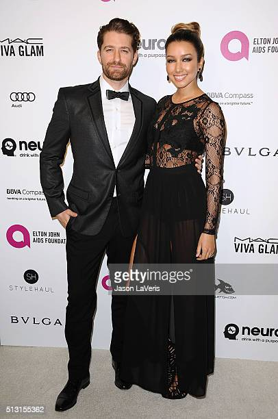 Actor Matthew Morrison and wife Renee Puente attend the 24th annual Elton John AIDS Foundation's Oscar viewing party on February 28, 2016 in West...