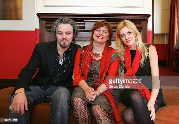 Actor Matthew Newton, Executive Director Clare Stewart and Gracie Otto pose during the program launch for the Sydney Film Festival at Customs House...