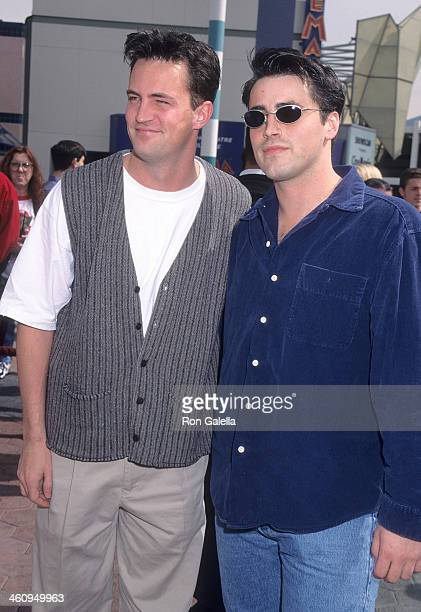 Actor Matthew Perry and actor Matt LeBlanc attend the 'Ed' Universal City Premiere on March 9 1996 at Cineplex Odeon Universal City Cinemas in...