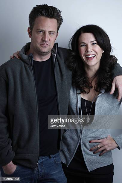 Actor Matthew Perry and Actress Lauren Graham at the Sky 360 by Delta Lounge WireImage Portrait Studio on January 30, 2008 in Park City, Utah.