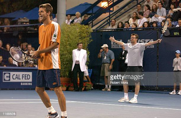Actor Matthew Perry and tennis star Gustavo Kuerten participate in the Gibson/Baldwin Night at the Net Celebrity Tennis Match at the Los Angeles...