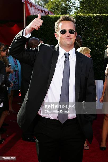Actor Matthew Perry arrives at the 59th Annual Primetime Emmy Awards at the Shrine Auditorium on September 16 2007 in Los Angeles California