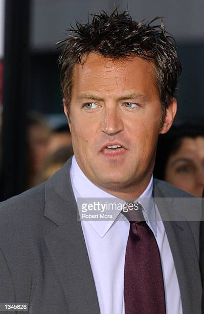 "Actor Matthew Perry attends the premiere of ""Serving Sara"" at the Samuel Goldwyn Theater on August 20, 2002 in Beverly Hills, California. The film..."