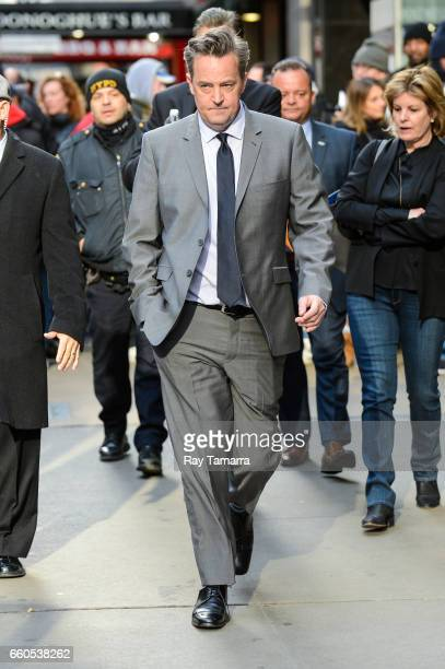 Actor Matthew Perry leaves the Good Morning America taping at the ABC Times Square Studios on March 30 2017 in New York City