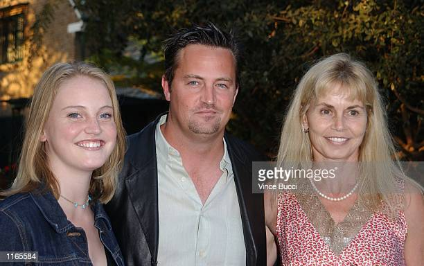 Actor Matthew Perry sister Emily and mohter Suzanne Morrison attend the Los Angeles Consul General of Canada and Los Angeles Kings'' tribute for...
