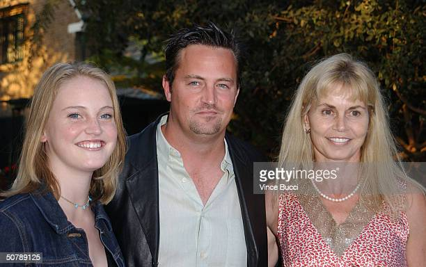 Actor Matthew Perry sister Emily and mother Suzanne Morrison attend the Los Angeles Consul General of Canada and Los Angeles Kings' tribute for...
