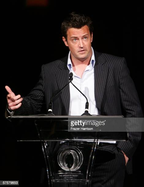 Actor Matthew Perry speaks onstage at the AFI Associates luncheon honoring Hollywood's Arquette family with the 6th Annual Platinum Circle Award held...