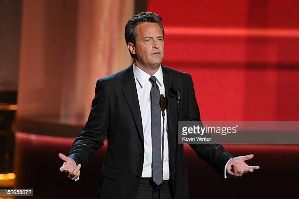 Actor Matthew Perry speaks onstage during the 64th Annual Primetime Emmy Awards at Nokia Theatre LA Live on September 23 2012 in Los Angeles...
