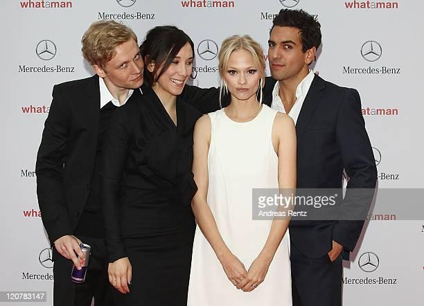 Actor Matthias Schweighoefer actress Sibel Kekilli actress Mavie Hoerbiger and actor Elyas M'Barek attend the 'What A Man' Premiere at CineStar on...