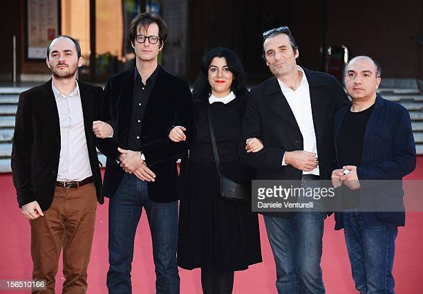 Actor Mattias Ripa, director Marjane Satrapi, actor Stephane Roche and guests attend the 'La Bande Des Jotas' Premiere during the 7th Rome Film...