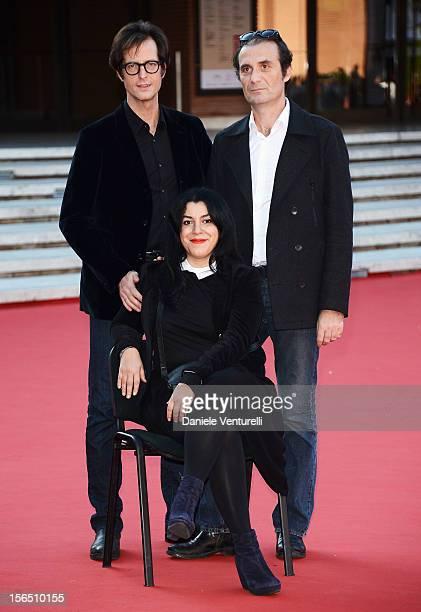 Actor Mattias Ripa director Marjane Satrapi and actor Stephane Roche attend the 'La Bande Des Jotas' Premiere during the 7th Rome Film Festival at...