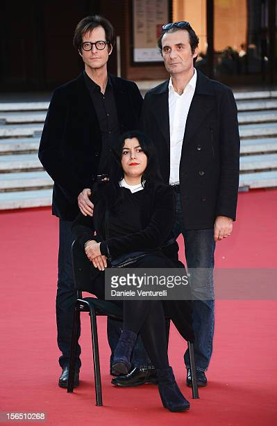 Actor Mattias Ripa, director Marjane Satrapi and actor Stephane Roche attend the 'La Bande Des Jotas' Premiere during the 7th Rome Film Festival at...
