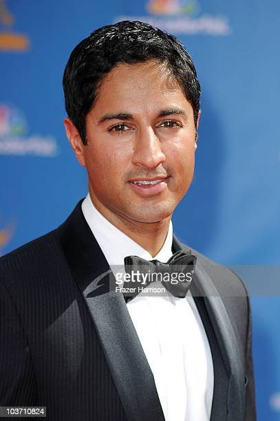 Actor Maulik Pancholy arrives at the 62nd Annual Primetime Emmy Awards held at the Nokia Theatre LA Live on August 29 2010 in Los Angeles California