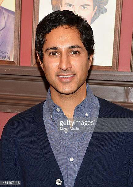 """Actor Maulik Pancholy attends Broadway's """"It's Only a Play"""" cast photo call at Sardi's on January 13, 2015 in New York City."""