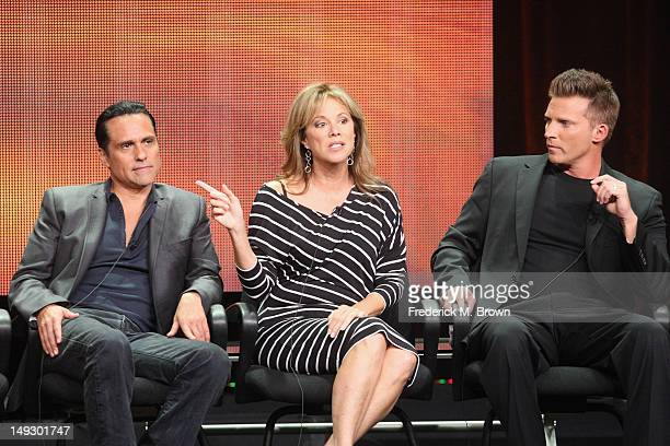 Actor Maurice Benard actress Nancy Lee Grahn and actor Steve Burton speak onstage at the 'General Hospital' panel during day 6 of the Disney...