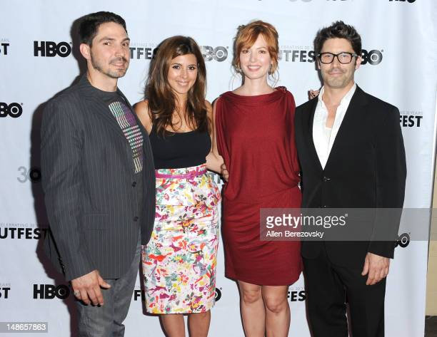 Actor Maurice Compte actress JamieLynn Sigler actress Alicia Witt and writer/actor David W Ross arrive at the 2012 Outfest Film Festival's 'I Do'...