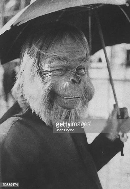 Actor Maurice Evans in simian makeup for his role in the movie Planet of the Apes California 1968