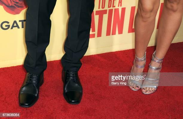 Actor Mauricio Ochmann and actress Aislinn Derbez shoe detail attend premiere of Pantelion Films' 'How To Be A Latin Lover' at ArcLight Cinemas...