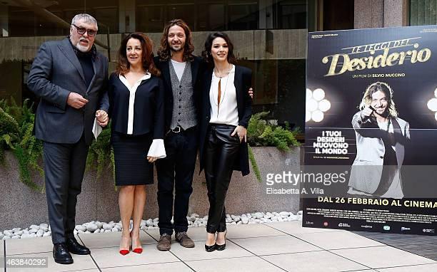 Actor Maurizio Mattioli actresses Carla Signoris and Nicole Grimaudo and director Silvio Muccino attend 'Le Leggi Del Desiderio' photocall at...