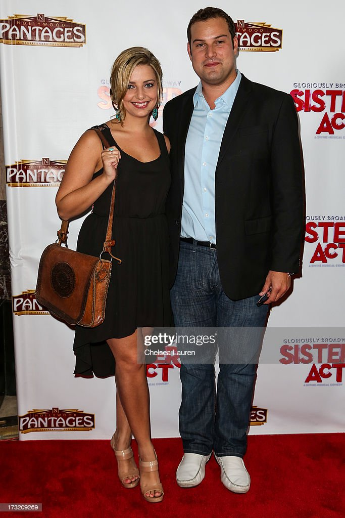 Actor Max Adler (R) arrives at the 'Sister Act' opening night premiere at the Pantages Theatre on July 9, 2013 in Hollywood, California.