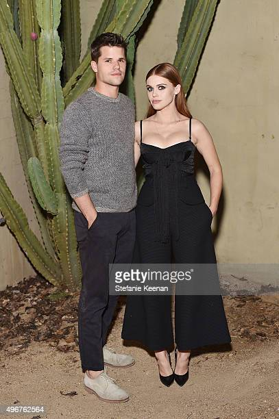 Actor Max Carver and actress Holland Roden attends the August Getty Atelier SS 2016 'The Thread Of Man' Presentation With David LaChapelle at...