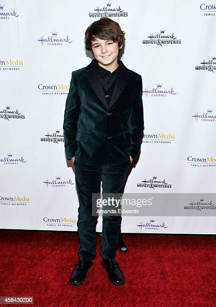 Actor Max Charles arrives at the Hallmark Channel's Holiday Christmas world premiere screening of 'Northpole' at La Piazza Restaurant on November 4...