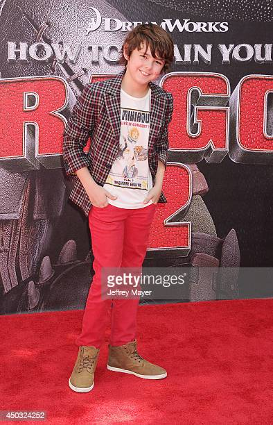 Actor Max Charles arrives at the Los Angeles premiere of 'How To Train Your Dragon 2' at the Regency Village Theatre on June 8, 2014 in Westwood,...