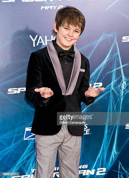 """Actor Max Charles attends """"The Amazing Spider-Man 2"""" premiere at the Ziegfeld Theater on April 24, 2014 in New York City."""