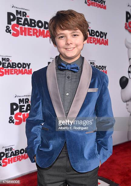 """Actor Max Charles attends the premiere of Twentieth Century Fox and DreamWorks Animation's """"Mr. Peabody & Sherman"""" at Regency Village Theatre on..."""
