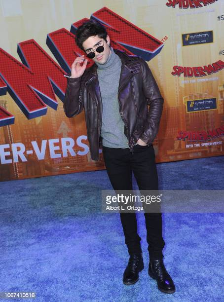 Actor Max Ehrich arrives for the World Premiere Of Sony Pictures Animation And Marvel's SpiderMan Into The SpiderVerse held at Regency Village...