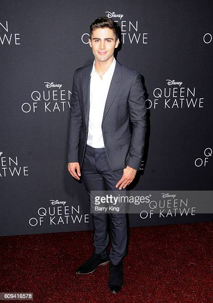 Actor Max Ehrich attends the premiere of Disney's 'Queen Of Katwe' at the El Capitan Theatre on September 20 2016 in Hollywood California