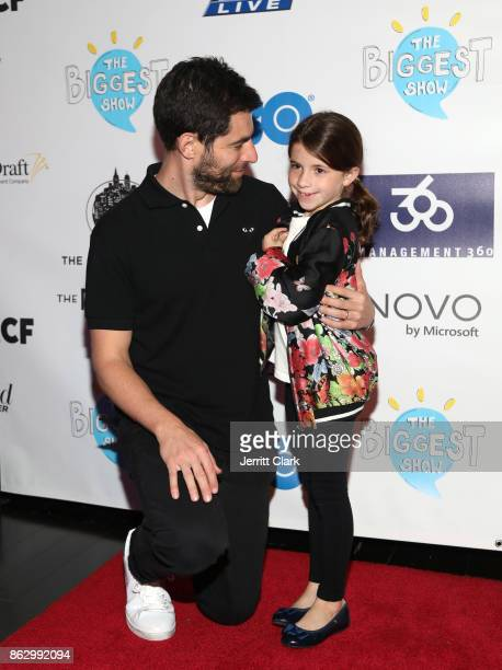 Actor Max Greenfield and daughter Lilly attend the Young Storytellers' 14th Annual Signature Event The Biggest Show at The Novo by Microsoft on...