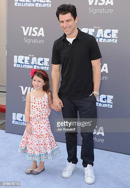 Actor Max Greenfield and daughter Lilly Greenfield arrive at the screening Of Ice Age Collision Course at Zanuck Theater at 20th Century Fox Lot on...