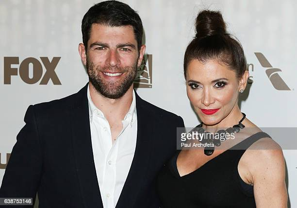 Actor Max Greenfield and his Wife Casting Director Tess Sanchez attend the FOX and FX's 2017 Golden Globe Awards After Party at The Beverly Hilton...