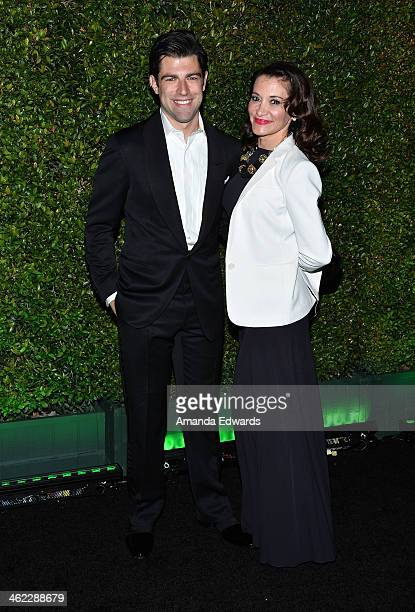 Actor Max Greenfield and his wife Tess Sanchez arrive at the FOX/FX Golden Globe Party at the FOX Pavilion at the Golden Globes on January 12 2014 in...