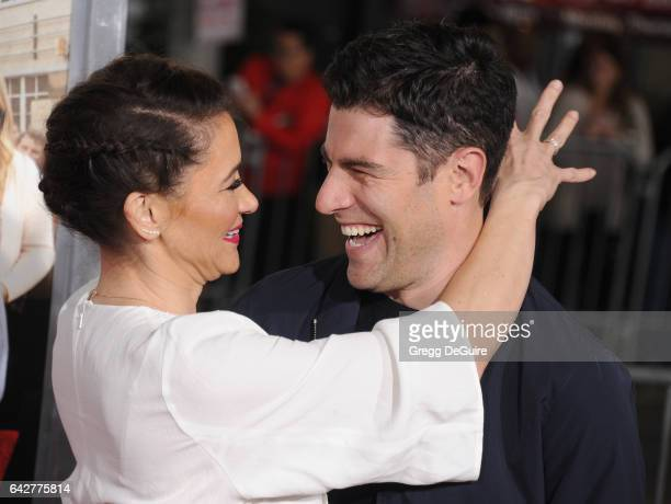 Actor Max Greenfield and Tess Sanchez arrive at the premiere of Warner Bros Pictures' 'Fist Fight' at Regency Village Theatre on February 13 2017 in...